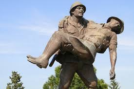 Turkish soldier carrying an Australian soldier - Memorial at Gallipoli